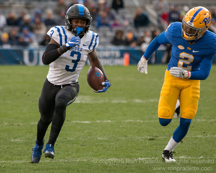 Duke wide receiver TJ Rahming eludes Pitt defender Terrish Webb (2). The Pitt Panther defeated the Duke Blue Devils 56-14 at Heinz Field in Pittsburgh, Pennsylvania on November 19, 2016.