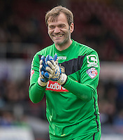 Notts County manager Mark Cooper enjoys a joke during the Sky Bet League 2 match between Newport County and Notts County at Rodney Parade, Newport, Wales on 30 April 2016. Photo by Mark  Hawkins / PRiME Media Images.