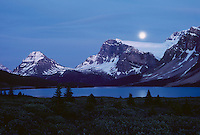 Moonrise over Bow Lake and Crowfoot Glacier, Banff National Park, Alberta, Canada.  Summer.