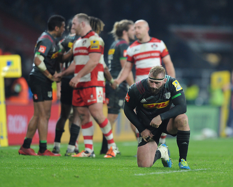 Joe Marler of Harlequins is exhausted at the end of the Aviva Premiership Rugby match between Harlequins and Gloucester Rugby at Twickenham Stadium on Tuesday 27th December 2016 (Photo by Rob Munro/Stewart Communications)