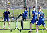 St Johnstone Training...14.08.21<br />Murray Davidson pictured playing foot tennis with Ali McCann, Jamie McCart and James Brown during training at McDiarmid Park this morning ahead of tomorrow's Premier Cup game at Arbroath.<br />Picture by Graeme Hart.<br />Copyright Perthshire Picture Agency<br />Tel: 01738 623350  Mobile: 07990 594431