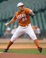NCAA Baseball featuring the Texas Longhorns against the Missouri Tigers. Green, Cole 4814  at the 2010 Astros College Classic in Houston's Minute Maid Park on Sunday, March 7th, 2010. Photo by Andrew Woolley