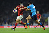Guilhem Guirado of France gets caught by Luke McLean of Italy during Match 5 of the Rugby World Cup 2015 between France and Italy - 19/09/2015 - Twickenham Stadium, London <br /> Mandatory Credit: Rob Munro/Stewart Communications