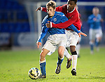 St Johnstone Academy v Manchester United Academy....17.04.15   <br /> Angel Gomes climbs all over Jamie Docherty<br /> Picture by Graeme Hart.<br /> Copyright Perthshire Picture Agency<br /> Tel: 01738 623350  Mobile: 07990 594431