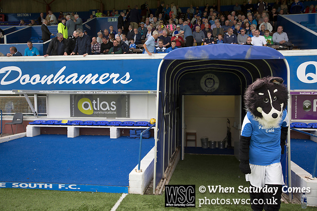 Queen of the South 2 Stranraer 0, 11/08/2015. Scottish Challenge Cup first round, Palmerston Park. The home club's sheepdog mascot at the players' entrance at Palmerston Park, Dumfries, before Queen of the South hosted Stranraer in a Scottish Challenge Cup first round match. The game was the opening match of the season in a competition open to sides below the Scottish Premiership. Queen of the South won the match 2-0, watched by a crowd of 1229 spectators. Photo by Colin McPherson.