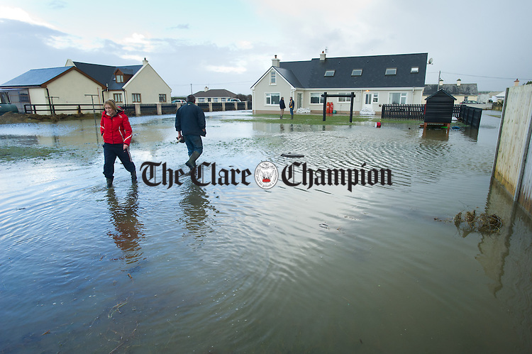 The O Connor family home at Seafield, Quilty was flooded when the sea breached through resulting in the occupants of the house being  rescued by the Coastguard early on Friday Morning. Photograph by John Kelly.