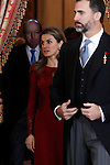 Princess Letizia of Spain and Prince Felipe of Spain attends the reception of the diplomatic corps in Spain at Palacio Real. January 23, 2013. (ALTERPHOTOS/Caro Marin)