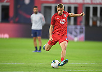 WASHINGTON, D.C. - OCTOBER 11: Jackson Yueill #14 of the United States warms up prior to their Nations League match versus Cuba at Audi Field, on October 11, 2019 in Washington D.C.