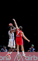 France's Mickael Gelabale (L) vies with Serbia's Bogdan Bogdanovic (R) during European championship basketball match for third place between France and Serbia on September 20, 2015 in Lille, France  (credit image & photo: Pedja Milosavljevic / STARSPORT)