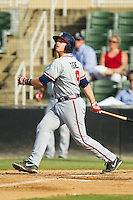 Tyler Tewell (9) of the Rome Braves follows through on his swing against the Kannapolis Intimidators at CMC-Northeast Stadium on August 25, 2013 in Kannapolis, North Carolina.  The Intimidators defeated the Braves 9-0.  (Brian Westerholt/Four Seam Images)