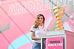 Italian épée fencer World Champion in 2014 and 2015, Rossella Fiamingo is Ambassador of the Corsa Rosa for the fourth stage at sign on before the start of Stage 4 of the 103rd edition of the Giro d'Italia 2020 running 140km from Catania to Villafranca Tirrena, Sicily, Italy. 6th October 2020.  <br /> Picture: LaPresse/Massimo Paolone   Cyclefile<br /> <br /> All photos usage must carry mandatory copyright credit (© Cyclefile   LaPresse/Massimo Paolone)