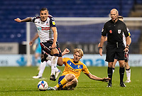 Bolton Wanderers' Antoni Sarcevic (left) competing with Mansfield Town's George Lapslie<br /> <br /> Photographer Andrew Kearns/CameraSport<br /> <br /> The EFL Sky Bet League Two - Bolton Wanderers v Mansfield Town - Tuesday 3rd November 2020 - University of Bolton Stadium - Bolton<br /> <br /> World Copyright © 2020 CameraSport. All rights reserved. 43 Linden Ave. Countesthorpe. Leicester. England. LE8 5PG - Tel: +44 (0) 116 277 4147 - admin@camerasport.com - www.camerasport.com