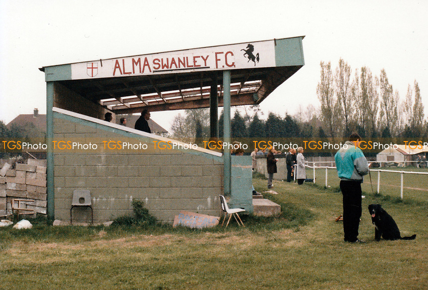 General view of Alma Swanley Football Club, Green Court Road, Crockenhill, Kent, pictured on 28th April 1988