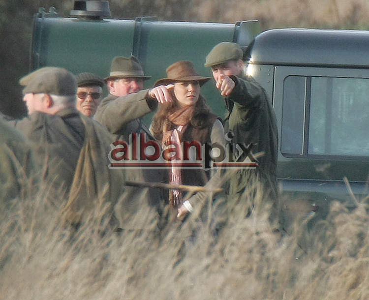 ©Albanpix.com-Picture by Alban Donohoe.Prince William and Kate Middleton on a  phesant shoot .on the Sandringham estate,Norfolk.02-12-06.