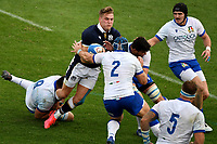 Jake Polledri, Luca Bigi, Sebastian Negri and Carlo Canna of Italy block Duhan Van Der Mwere of Scotland during the rugby Autumn Nations Cup's match between Italy and Scotland at Stadio Artemio Franchi on November 14, 2020 in Florence, Italy. Photo Andrea Staccioli / Insidefoto