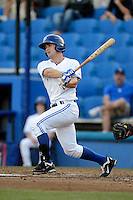 Dunedin Blue Jays second baseman Jon Berti #5 during a game against the Tampa Yankees on April 11, 2013 at Florida Auto Exchange Stadium in Dunedin, Florida.  Dunedin defeated Tampa 3-2 in 11 innings.  (Mike Janes/Four Seam Images)
