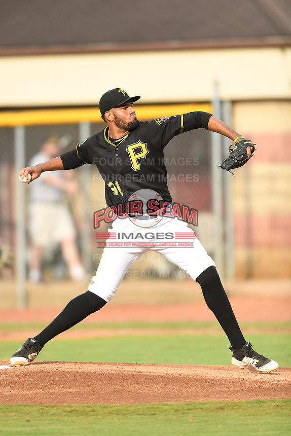 Bristol Pirates starting pitcher Adrian Florencio (31) delivers a pitch during a game against the Greeneville Reds at Boyce Cox Field on July 31, 2019 in Bristol, Virginia. The Pirates defeated the Reds 13-3. (Tracy Proffitt/Four Seam Images)