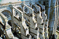 The flying buttresses at Chartres Cathedral. The buttress  stands away from the building but is connected to it by a bridge. Gothic design