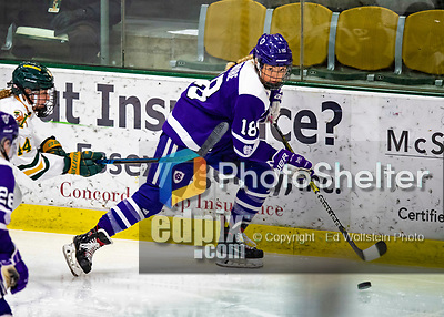 2 February 2020: Holy Cross Crusader Forward Rachel Moore, a Senior from Falmouth, MA, in third period action against the University of Vermont Catamounts at Gutterson Fieldhouse in Burlington, Vermont. The Lady Cats rallied in the 3rd period to tie the Crusaders 2-2 in NCAA Women's Hockey East play. Mandatory Credit: Ed Wolfstein Photo *** RAW (NEF) Image File Available ***