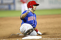Auburn Doubledays shortstop Stephen Perez #1 slides into third safely during a game against the Batavia Muckdogs at Dwyer Stadium on June 18, 2012 in Batavia, New York.  Auburn defeated Batavia 6-5.  (Mike Janes/Four Seam Images)