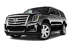 Stock pictures of low aggressive front three quarter view of a 2018 Cadillac Escalade ESV 2WD Luxury 5 Door SUV Low Aggressive