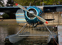 Cessna 195, N3877V, on floats docked at the Skylark Shores Resort dock, Clear Lake Seaplane Splash In, Lakeport, California, Lake County, California