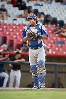 Garrett Kennedy (8) of the Rancho Cucamonga Quakes in the field during a game against the High Desert Mavericks at Heritage Field on August 7, 2016 in Adelanto, California. Rancho Cucamonga defeated High Desert, 10-9. (Larry Goren/Four Seam Images)