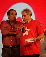 PA - CONVENCAO/PMDB/LULA - POLITICA - ATENCAO, EDITOR: FOTO EMBARGADA PARA VEICULOS DO ESTADO DO PARA. O ex-presidente Luiz Inácio Lula da Silva lado senador Jader Barbalho participa de convenção do PMDB do Para, em Belem, nesta segunda- feira.<br />  <br /> Foto: TARSO SARRAF