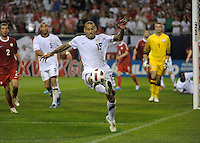 US midfielder Jermaine Jones (15) saves the ball from going over the endline.  The U.S. Men's National Team tied Poland 2-2 at Soldier Field in Chicago, IL on October 9, 2010.