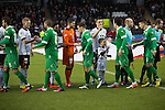 St Mirren 4 The New Saints 1, 19/02/2017. Paisley 2021 Stadium, Scottish Challenge Cup. The two teams exchanging pre-match handshakes at the Paisley2021 Stadium before Scottish Championship side St Mirren (in white) played Welsh champions The New Saints in the semi-final of the Scottish Challenge Cup for the right to meet Dundee United in the final. The competition was expanded for the 2016-17 season to include four clubs from Wales and Northern Ireland as well as Scottish Premier under-20 teams. Despite trailing at half-time, St Mirren won the match 4-1 watched by a crowd of 2044, including 75 away fans. Photo by Colin McPherson.