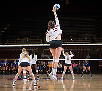 STANFORD, CA - December 1, 2017: Audriana Fitzmorris at Maples Pavilion. The Stanford Cardinal defeated the CSU Bakersfield Roadrunners 3-0 in the first round of the NCAA tournament.