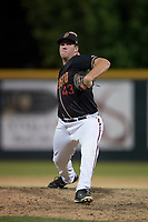 Modesto Nuts relief pitcher Seth Elledge (43) delivers a pitch to the plate during a California League game against the Lake Elsinore Storm at John Thurman Field on May 11, 2018 in Modesto, California. Modesto defeated Lake Elsinore 3-1. (Zachary Lucy/Four Seam Images)