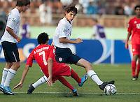 William Packwood controls the ball. US Under-17 Men's National Team defeated United Arab Emirates 1-0 at Gateway International  Stadium in Ijebu-Ode, Nigeria on November 1, 2009.