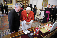 Pope Benedict XVI receives : German President Joachim Gauck at the Vatican on December  6, 2012