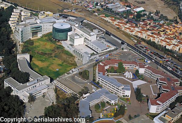 aerial photograph of Santa Fe district, Mexico City, Mexico.