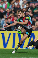 Nick Evans of Harlequins has a disappointing day with the boot during the Aviva Premiership match between Harlequins and Saracens at the Twickenham Stoop on Sunday 30th September 2012 (Photo by Rob Munro)