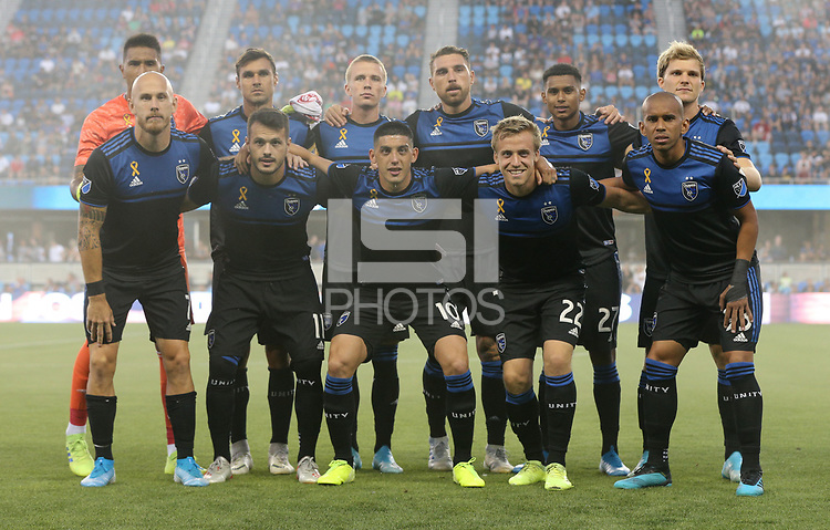 SAN JOSE, CA - AUGUST 31: San Jose Earthquakes starting eleven during a Major League Soccer (MLS) match between the San Jose Earthquakes and the Orlando City SC  on August 31, 2019 at Avaya Stadium in San Jose, California.