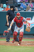 Greeneville Reds catcher Hunter Oliver (28) chases after the baseball during the game against the Pulaski Yankees at Calfee Park on June 23, 2018 in Pulaski, Virginia. The Reds defeated the Yankees 6-5.  (Brian Westerholt/Four Seam Images)