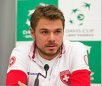 Swiss, Genève, September 14, 2015, Tennis,   Davis Cup, Swiss-Netherlands, press conference Swiss team , Stan Wawrinka<br /> Photo: Tennisimages/Henk Koster