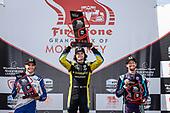 #10: Alex Palou, Chip Ganassi Racing Honda, #26: Colton Herta, Andretti Autosport w/ Curb-Agajanian Honda, #51: Romain Grosjean, Dale Coyne Racing with RWR Honda, podium