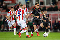 1st October 2021;  Bet365 Stadium, Stoke, Staffordshire, England; EFL Championship football, Stoke City versus West Bromwich Albion; Jordan Hugill of West Bromwich Albion under pressure from  James Chester of Stoke City