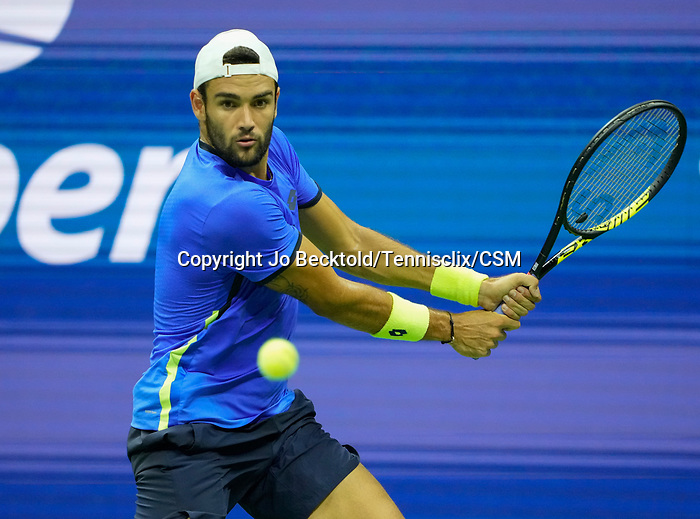 L - September  8, 2021:   Matteo Berrettini (ITA) loses to Novak Djokovic (SRB),5-7, 6-2, 6-3 at the US Open being played at Billy Jean King National Tennis Center in Flushing, Queens, New York, {USA} ©Jo Becktold/Tennisclix/CSM
