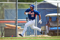 New York Mets outfielder Tim Tebow (15) scores a run during an Instructional League game against the Miami Marlins on September 29, 2016 at Port St. Lucie Training Complex in Port St. Lucie, Florida.  (Mike Janes/Four Seam Images)