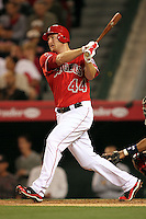 Mark Trumbo #44 of the Los Angeles Angels bats against the Cleveland Indians at Angel Stadium in Anaheim,California on April 11, 2011. Photo by Larry Goren/Four Seam Images
