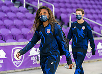 ORLANDO, FL - JANUARY 18: Catarina Macario #29 of the USWNT walks into the venue before a game between Colombia and USWNT at Exploria Stadium on January 18, 2021 in Orlando, Florida.