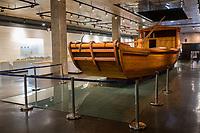 Suzhou, Jiangsu, China.  Full-size Replica of Canal Boat used to Transport Imperial Bricks to Beijing.  Suzhou Museum of Imperial Kiln Brick.