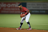 Birmingham Barons second baseman Yolbert Sanchez (29) on defense against the Mississippi Braves at Regions Field on August 3, 2021, in Birmingham, Alabama. (Brian Westerholt/Four Seam Images)