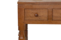 BNPS.co.uk (01202 558833)<br /> Pic: Tennants/BNPS<br /> <br /> Pictured: The carving of a mouse on the leg of the table/desk.<br /> <br /> Celebrity chef Marco Pierre White is selling his £90,000 collection of highly sought-after 'Mouseman' furniture that has graced his country hotel.<br /> <br /> The items were created by Robert 'Mousey' Thompson who earned his nickname by carving a small mouse somewhere into each piece of oak furniture he made.<br /> <br /> Marco Pierre White began collecting Mouseman furniture many years ago and installed it in his Rudloe Arms hotel in Wiltshire.<br /> <br /> The Michelin starred-chef has acquired so much of it that some of the items are now surplus to requirement.