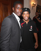 Bill Hamid of DC United with Ronaldinho of AC Milan at a reception for AC Milan at DAR Constitution Hall in Washington DC on May 24 2010.
