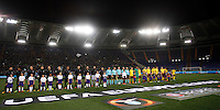 Calcio, Europa League: Lazio vs Sparta Praga. Roma, stadio Olimpico, 17 marzo 2016.<br /> Lazio and Sparta Praha's players line up prior to the start of  the round of  their 16 second leg soccer match at Rome's Olympic Stadium, 17 March 2016. Sparta Praha won 3-0 to join the quarter finals.<br /> UPDATE IMAGES PRESS/Isabella Bonotto
